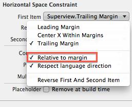 iOS 8 Relative to margin